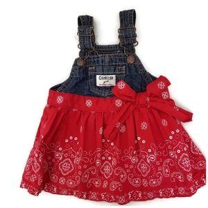 OshKosh B'gosh Baby 6 mo Denim Overall Dress Red